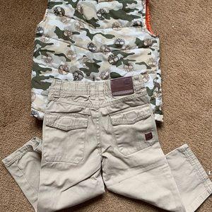 Timberland Matching Sets - Timberland 3T Puffer Camo Vest Tan Khaki Pants